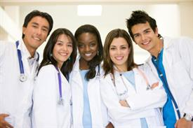 Smiling medical residents