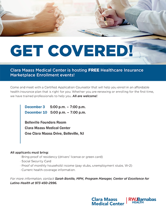 Get Covered! Clara Maass Medical Center is hosting Free Healthcare Insurance Marketplace Enrollment events