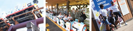 Cancer survivors ride the runaway mine train coaster at Six Flags Great Adventure