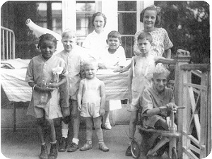 black and white image of 8 women and children