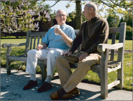 Elderly men sitting on a bench while talking