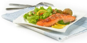 Plate of Salmon and Salad