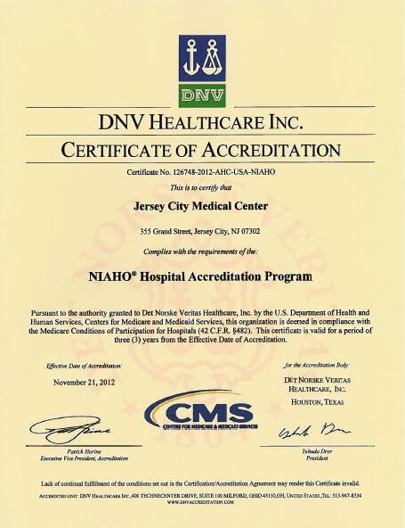 DNV Accredited Hospital | Jersey City Medical Center