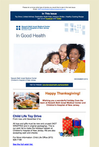 Newark Beth Israel Medical Center and The Children's Hospital of NJ e-newsletter