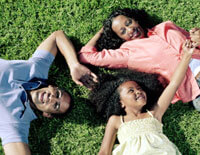 Family laying on grass